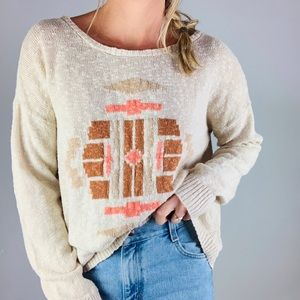 ☕️Lucky Brand Boho Crewneck Beige Sweater XL